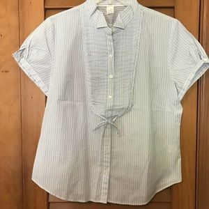 J.CREW Short Sleeve Button-down Striped Blouse